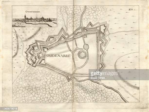 Oudenarde, Plan and view of fortification of Oudenaarde , Fig. 22 after p. 148 Galeazzo Gualdo Priorato: Teatro del Belgio, o sia descritione delle...