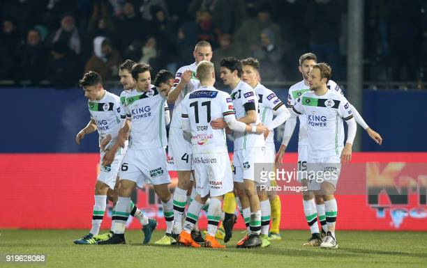 OudHeverlee Leuven players celebrate after Jovan Kostovski of OudHeverlee Leuven scores to make it 11 during the Proximus League match between...