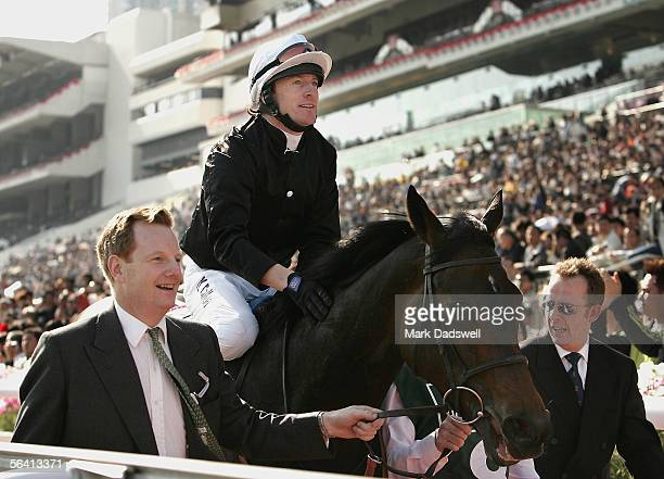 Ouija Board ridden by Kieren Fallon returns to scale after winning the Cathay Pacific Hong Kong Vase during the Cathay Pacific International Races at...
