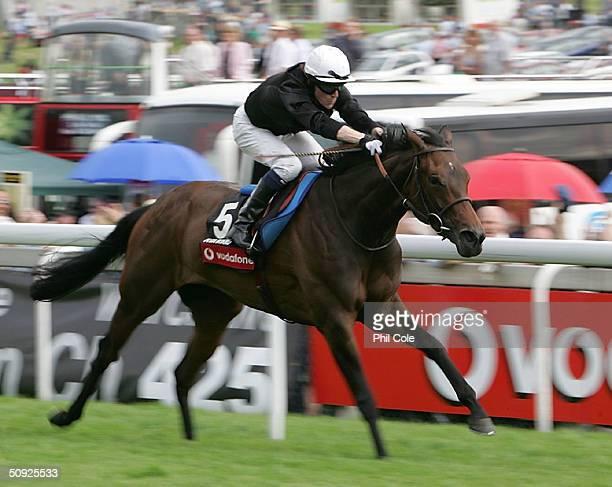 Ouija Board ridden by Kieron Fallon wins The Vodafone Oaks held at Epsom Racecourse on June 4, 2004 in Epsom, England.
