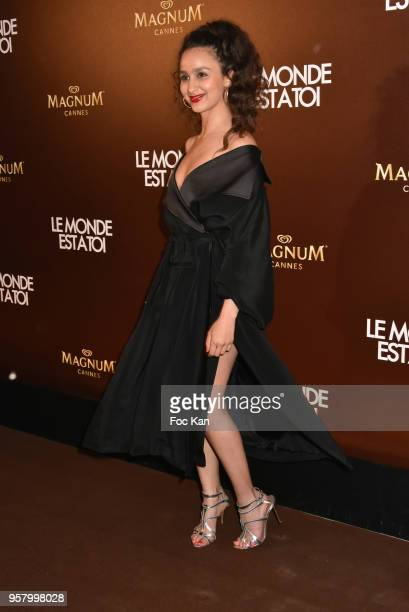 Oulaya Amamra attends the Le Monde Est A Toi Party during the 71st annual Cannes Film Festival at Magnum Beach on May 12 2018 in Cannes France