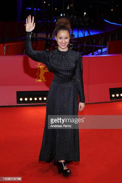 Oulaya Amamra pose at the The Salt of Tears premiere during the 70th Berlinale International Film Festival Berlin at Berlinale Palace on February 22...
