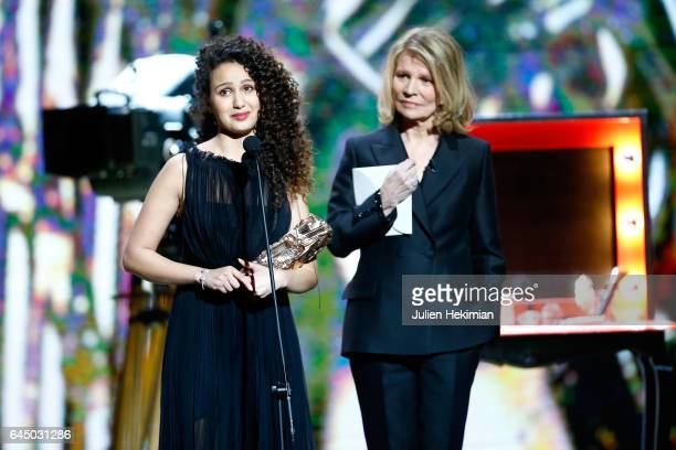 Oulaya Amamra receives the Cesar of the best promising actress in 'Divines' during the Cesar Film Awards Ceremony at Salle Pleyel on February 24 2017...