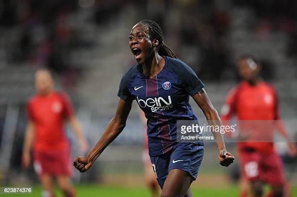 Ouleymata Sarr of PSG celebrates her goal during the UEFA Women's Champions League match between Paris Saint Germain and Biik Kazygurt at Stade...