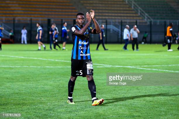 Oumar Gonzalez of Chambly celebrate the victory during the Ligue 2 match between FC Chambly and Valenciennes FC at Stade Pierre Brisson on July 26...