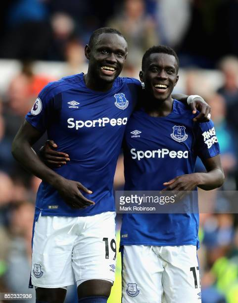 Oumar Niasse and Idrissa Gueye of Everton celebrate their 21 victory in the Premier League match between Everton and AFC Bournemouth at Goodison Park...