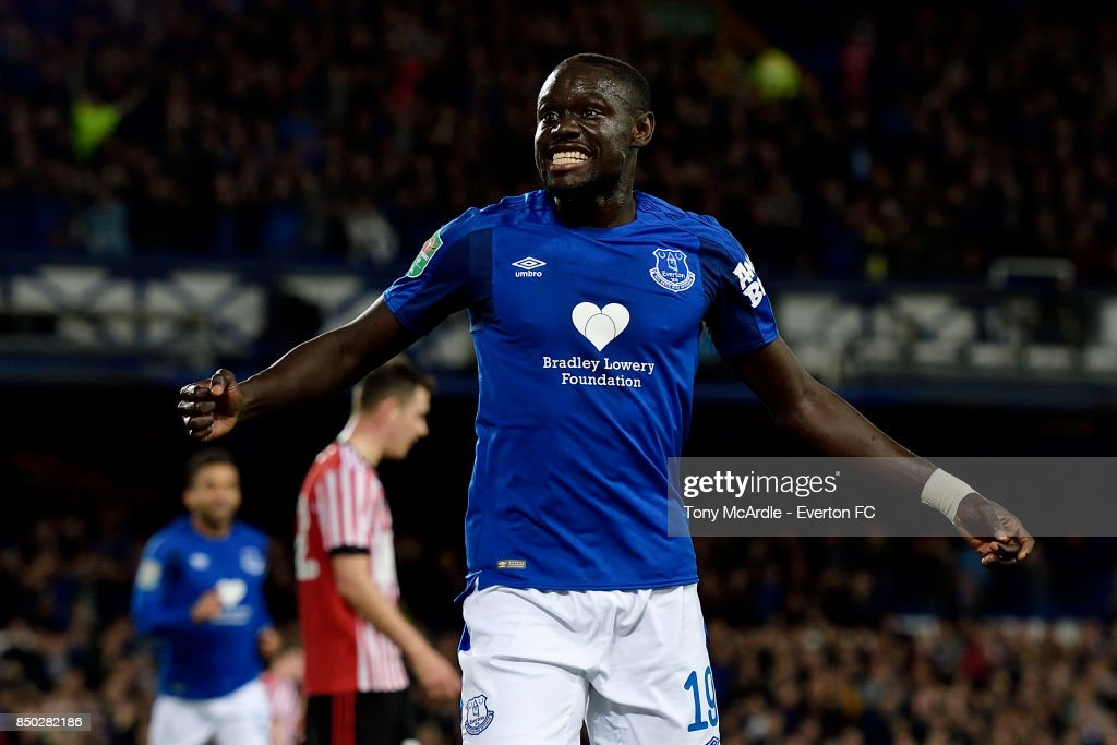 Oumar Niasse celebrates his second goal during the Carabao Cup Third Round match between Everton and Sunderland at Goodison Park on September 20, 2017 in Liverpool, England.