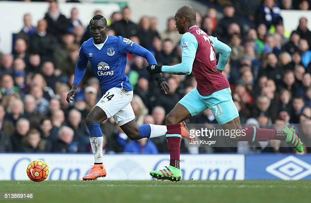 Oumar Niasse of Everton and Angelo Ogbonna Obinza of West Ham United compete for the ball during the Barclays Premier League match between Everton...