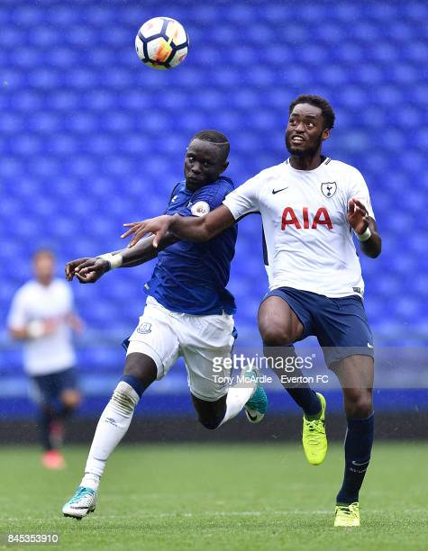 Oumar Niasse of Everton and Christian Maghoma of Tottenham challenge for the ball during the Premier League 2 match between Everton U23 and Tottenham...