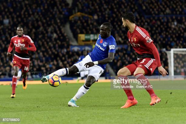 Oumar Niasse of Everton and Miguel Angel Britos challenge for the ball during the Premier League match between Everton and Watford at Goodison Park...