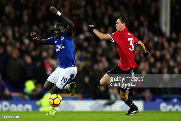 Oumar Niasse of Everton and Nemanja Matic of Manchester United in action during the Premier League match between Everton and Manchester United at...