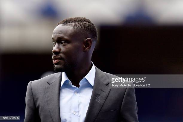 Oumar Niasse of Everton arrives before the Premier League match between Everton and Burnley at Goodison Park on October 1 2017 in Liverpool England