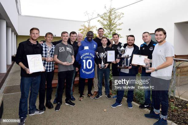Oumar Niasse of Everton attends visits Clock View Hospital on World Mental Health Day on October 10 2017 in Liverpool England