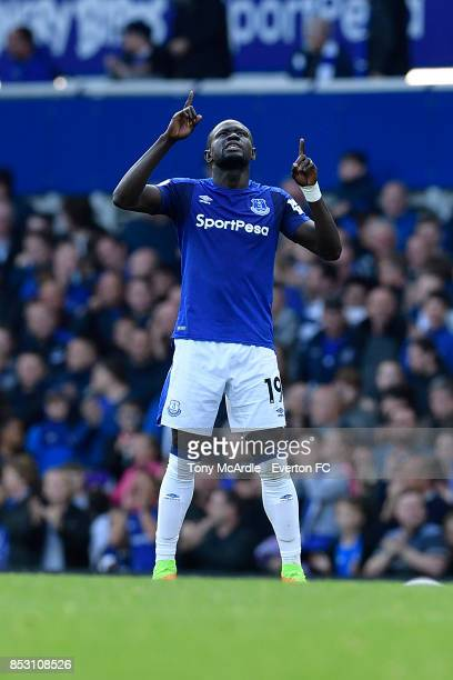 Oumar Niasse of Everton celebrates his first goal during the Premier League match between Everton and AFC Bournemouth at Goodison Park on September...