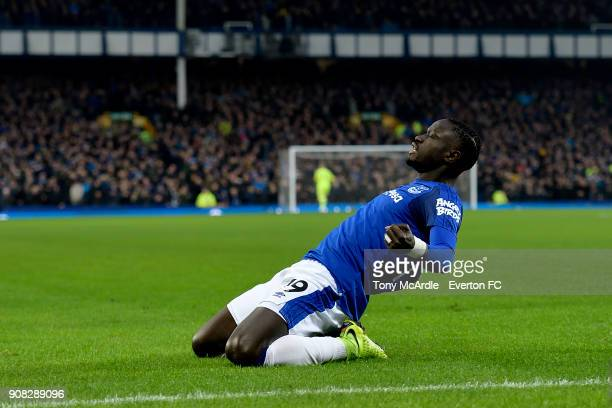 Oumar Niasse of Everton celebrates his goal during the Premier League match between Everton and West Bromwich Albion at Goodison Park on January 20...
