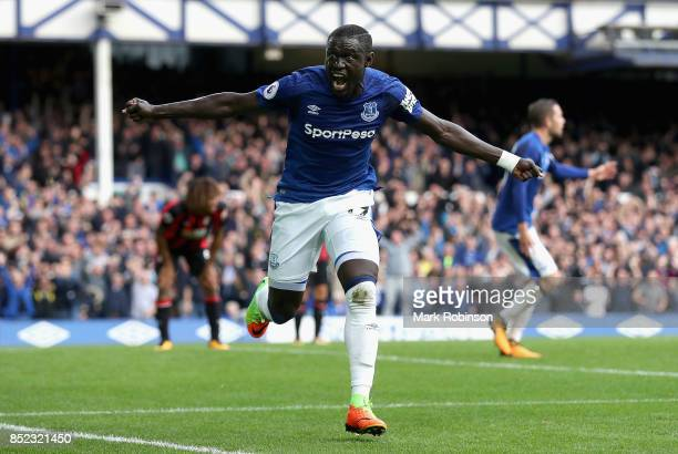 Oumar Niasse of Everton celebrates scoring his side's second goal during the Premier League match between Everton and AFC Bournemouth at Goodison...