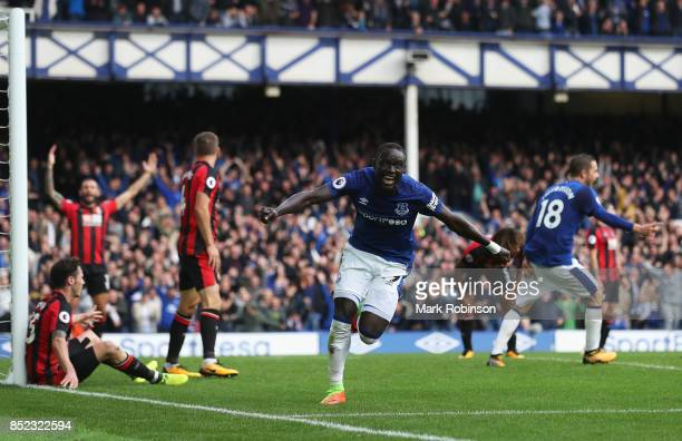 Oumar Niasse of Everton celebrates scoring his sides second goal during the Premier League match between Everton and AFC Bournemouth at Goodison Park...
