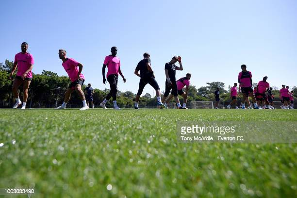 Tom Davies of Everton smiles for the camera during the Everton training session ahead of the Algarve Cup on July 21 2018 in Faro Portugal