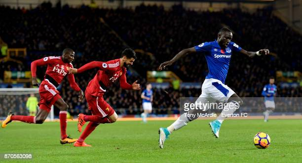 Oumar Niasse of Everton runs with the ball during the Premier League match between Everton and Watford at Goodison Park on November 5 2017 in...