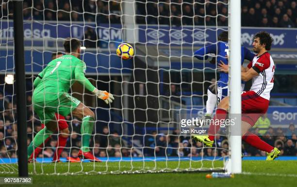 Oumar Niasse of Everton scores his sides first goal during the Premier League match between Everton and West Bromwich Albion at Goodison Park on...