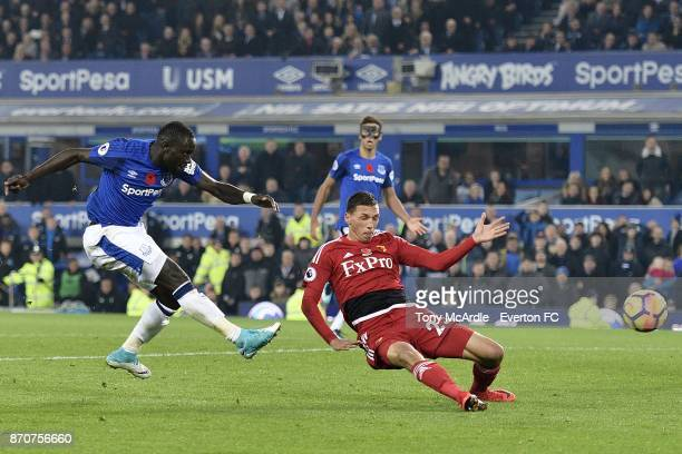 Oumar Niasse of Everton with a late chance on goal during the Premier League match between Everton and Watford at Goodison Park on November 5 2017 in...