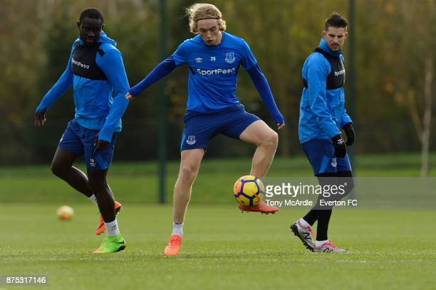 Oumar Niasse Tom Davies and Kevin Mirallas during the Everton Training session at USM Finch Farm on November 17 2017 in Halewood England