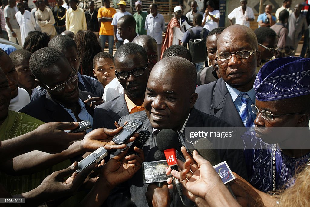 Oumar Sarr, of the PDS party of ex-president Abdoulaye Wade, is interviewed on November 22, 2012 as the son of Senegal's ex-president Abdoulaye Wade was released from police custody early Friday after lengthy questioning over graft allegations against him, a member of his entourage said. Mamadou Toure BEHAN