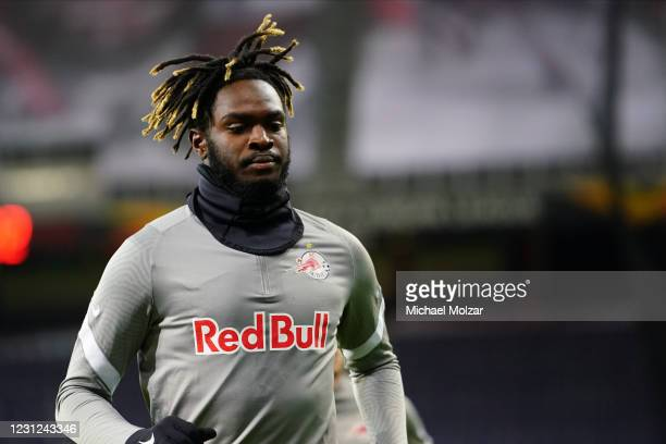 Oumar Solet of Salzburg during the warm up before the UEFA Europa League match between FC Salzburg and Villareal at Red Bull Arena on February 18,...