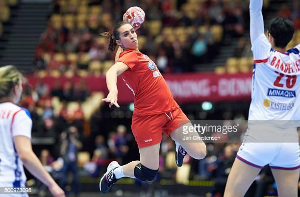 Oumayma Dardourthe 22nd IHF Women's Handball World Championship match between Tunisia and Serbia in Jyske Bank Boxen on December 11 2015 in Herning...