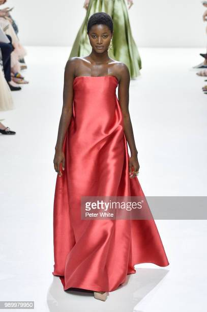 Oumie Jammeh walks the runway during the Christian Dior Haute Couture Fall Winter 2018/2019 show as part of Paris Fashion Week on July 2 2018 in...