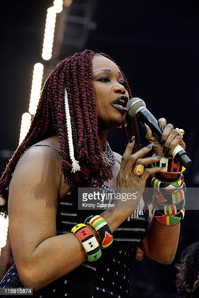 Oumou Sangare performs on stage during the 'Nuit Africaine' concert at Stade de France on June 11, 2011 in Paris, France.