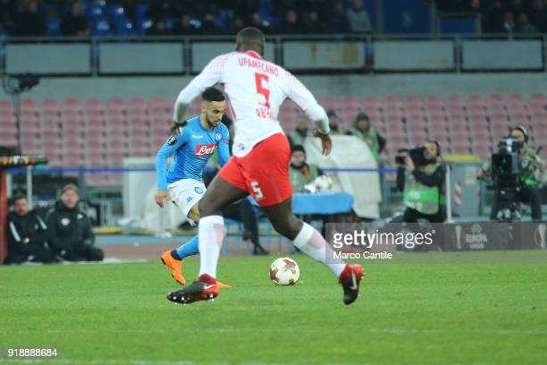 Ounas and Upamecano in action during football match between Napoli Lipsia Napoli lost the match 13 to Lipsia