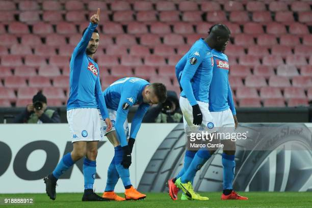 Ounas celebrates goal during football match between Napoli Lipsia Napoli lost the match 13 to Lipsia