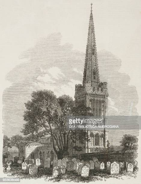 Oundle church Northamptonshire United Kingdom illustration from the magazine The Illustrated London News volume XLV December 10 1864
