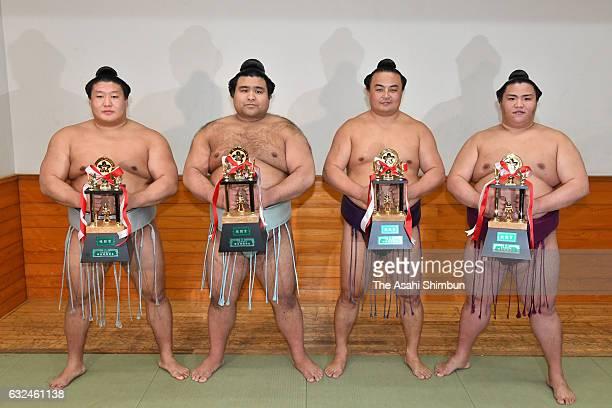 Ouotstanding Performance Award winner Mongolian Takanoiwa FightingSpirit Award winner sekiwake Takayasu Technique Award winners Chinese Sokokurai and...