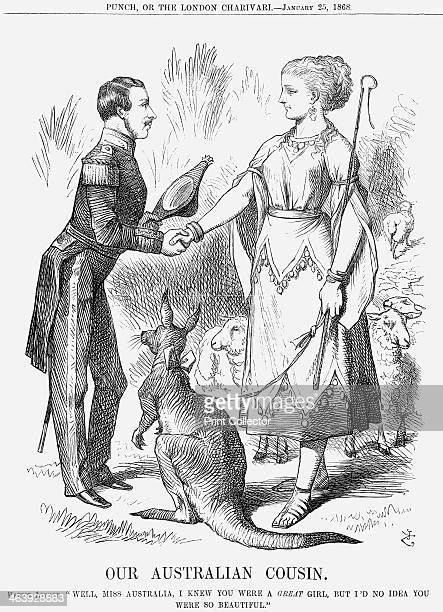 'Our Australian Cousin' 1868 This cartoon refers to the visit made by Prince Alfred Queen Victoria's second son to Australia then a British colony...