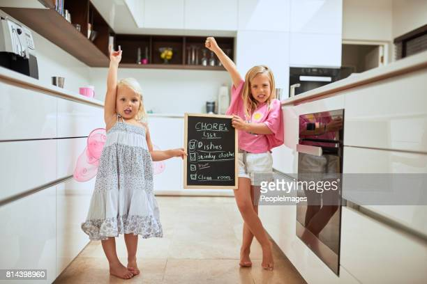our chores are finally done! - chores stock photos and pictures