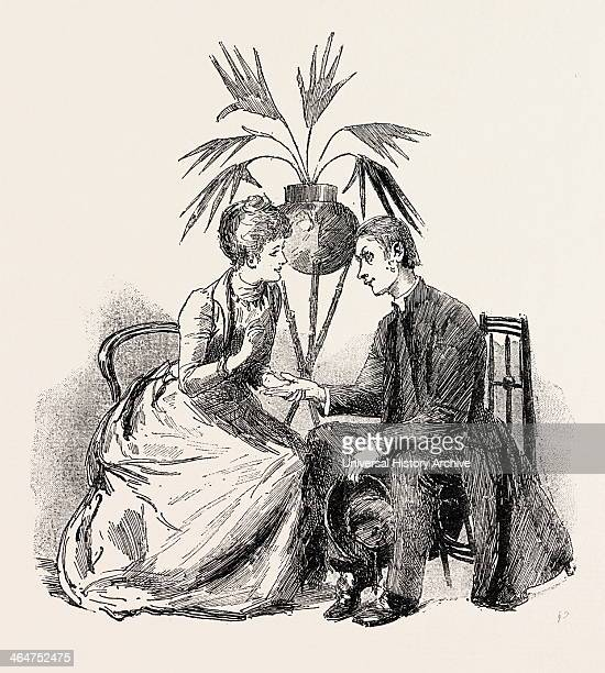 Our Curate Arranges With My Pretty Cousin To Tell Fortunes By Palmistry At His Bazaar Engraving 1890 Engraved Image History Arkheia Illustrative...