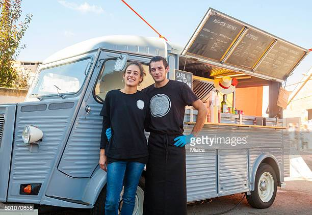 our food truck - happy merchant stock pictures, royalty-free photos & images
