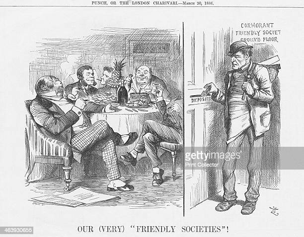 'Our Friendly Societies' 1886 The representative of Britain's honest and sober workingclass is diligently posting his small savings into the door of...