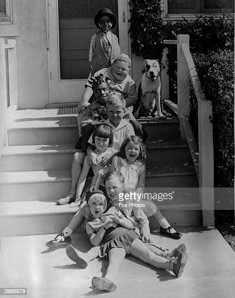 """'Our Gang' child film stars and their dog Bottom to Top Shirley Jean Rickert Bobby """"Wheezer Hutchins Dorothy DeBorba Mary Ann Jackson Jackie Cooper..."""