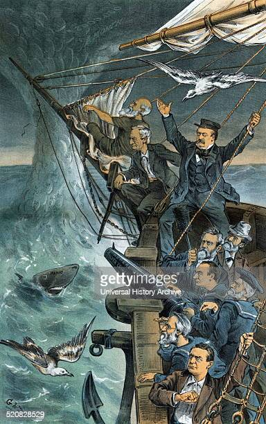 Our good ship National Credit in danger from a silverspout' Bow of a ship approaching a waterspout labelled 80ct $ and $2000 a Month and a shark...