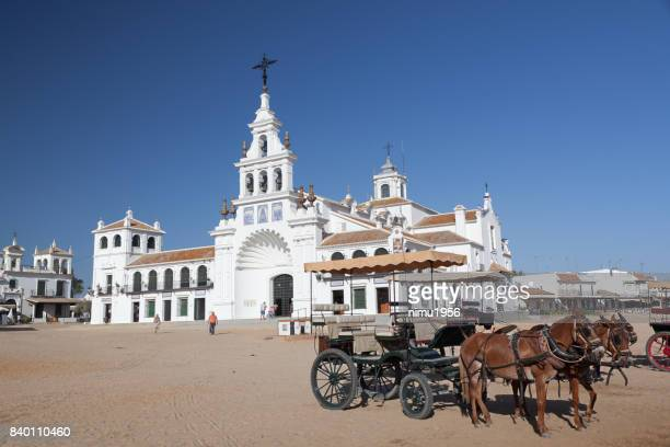 our lady church in el rocio, almonte, andalusia, spain - luogo d'interesse stock pictures, royalty-free photos & images