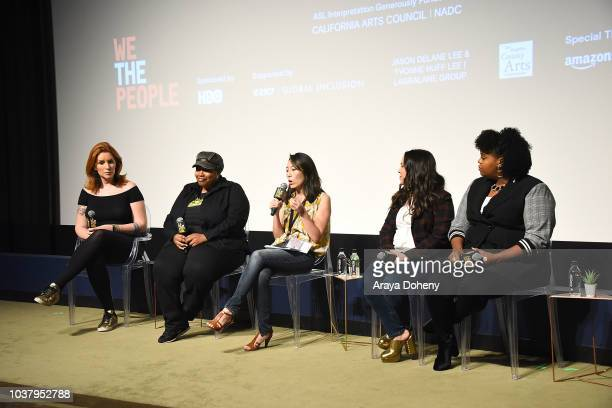 Our Lady J LaToya Morgan Rebecca Sun Gloria Calderon Kellett and Natasha Rothwell attend the 2018 LA Film Festival We The People True Reflections of...