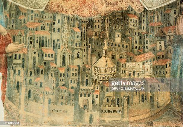 Our Lady of Mercy Church in Florence Italy 14th Century. Fresco, detail.