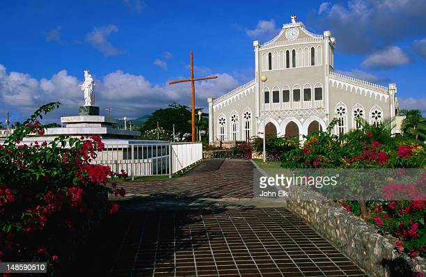 our lady of mount carmel cathedral and garden. - saipan stock pictures, royalty-free photos & images