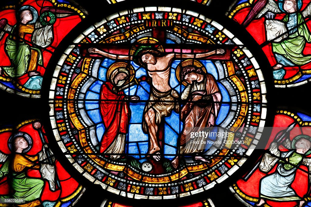 Our Lady of Strasbourg Cathedral. Stained glass window. Crucifixion of Jesus Christ. : Stock Photo