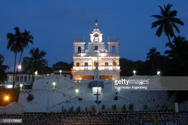 our lady of the immaculate conception church at night, panaji, goa - argenberg bildbanksfoton och bilder