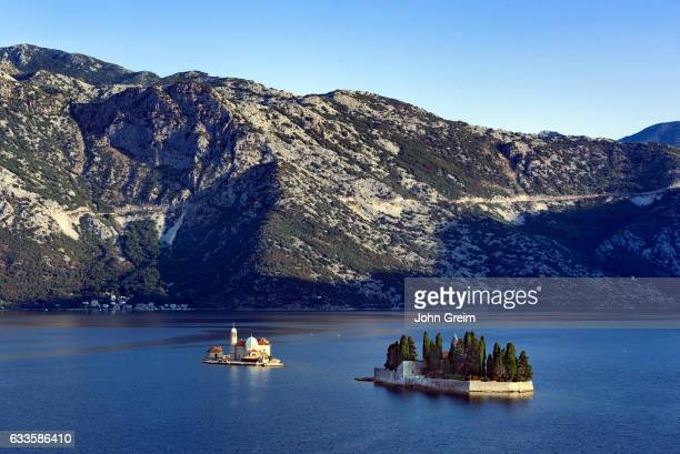Our Lady of the Rocks church sits on a small man made island in the Bay of Kotor