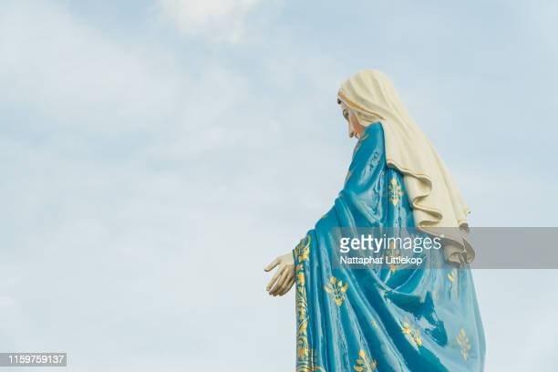 our lady, the blessed virgin mary on white background. - orthodox christmas stock pictures, royalty-free photos & images